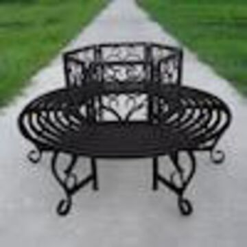 Oakland Living Scroll Tree 59-in W x 59-in L Iron Patio Bench