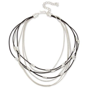 Silver-Tone & Leather Multi-Row Necklace, 18