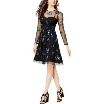 Taylor Womens Embroidered Mini Cocktail Dress
