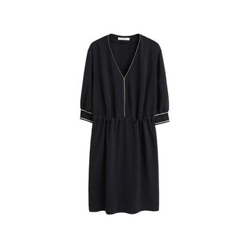 Violeta BY MANGO - Drawstring waist dress black - 16 - Plus sizes