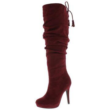 Thalia Sodi Womens Brisa Faux Suede Tassels Knee-High Boots