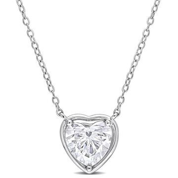 Miadora 2ct DEW Heart-cut Moissanite Solitaire Station Necklace in Sterling Silver