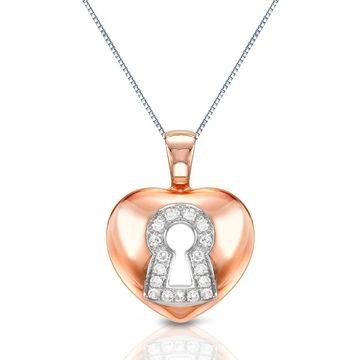 Auriya 14k Rose Gold Accent Diamond Heart Lock Pendant