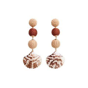 Violeta BY MANGO - Shell pendant earrings ecru - One size - Plus sizes