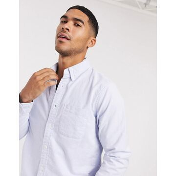 Abercrombie & Fitch icon logo slim fit core oxford shirt in blue