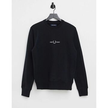 Fred Perry embroidered sweatshirt in black