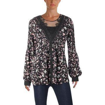 Kobi Halperin Womens Avery Bishop Sleeves Floral Print Blouse
