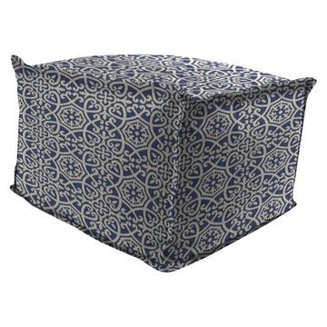Outdoor Bean Filled Pouf/Ottoman In Ayathena Sapphire - Jordan Manufacturing