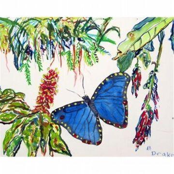 Betsy Drake DM450G Morpho & Flowers Door Mat Large
