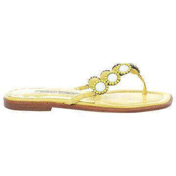 Manolo Blahnik Yellow Leather Flats