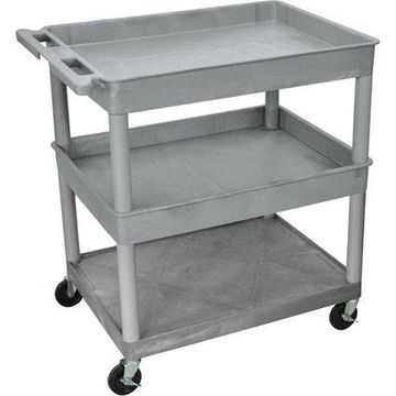 Luxor Large Tub Top and Middle and Flat Bottom Shelf Cart