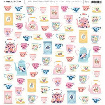 """American Crafts Teacup Patterned 12"""" x 12"""" Single-Sided Cardstock, 25 Sheets 