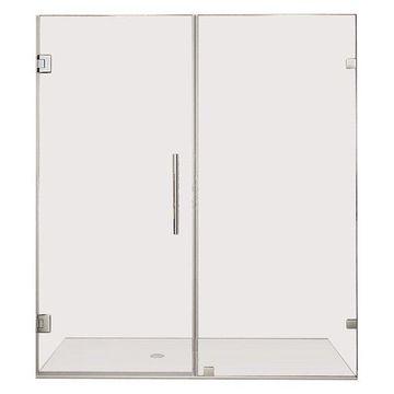 Aston Nautis Frameless Hinged Shower Door With Glass Shelves, Stainless, 72