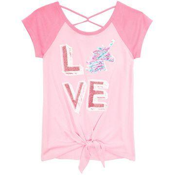 Big Girls Tie-Front Reversible Sequin Raglan T-Shirt