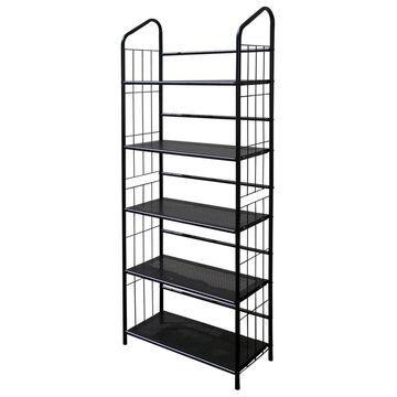 ORE International Back Metal 5-Shelf Bookcase in Black   R597-5