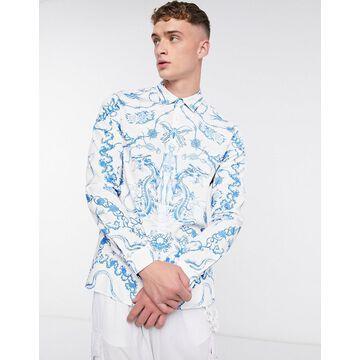 Jaded London blue vintage tattoo long sleeve shirt in white