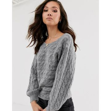 Abercrombie & Fitch high neck knit sweater in gray heather