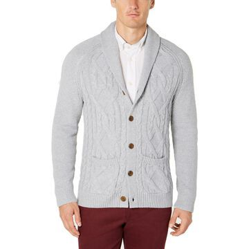 Tasso Elba Mens Cable Knit Button Cardigan Sweater