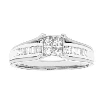 Sofia 10K White Gold Princess Cut Diamond Ring