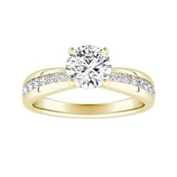 Auriya 14k Gold Round Moissanite Engagement Ring 1.83ctw