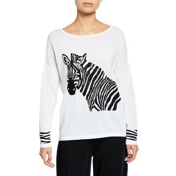 Boat-Neck Sequined Zebra Intarsia Sweater w/ Cuff Detail