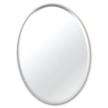 Gatco 33-Inch x 25-Inch Oval Flush Mount Framed Mirror in Satin Nickel