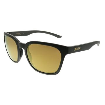 Smith Square Founder FRE 0K Unisex Matte Grey Frame Gold Mirror Polarized Lens Sunglasses