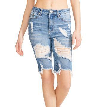 Madden Girl Juniors' Ripped Denim Bermuda Shorts