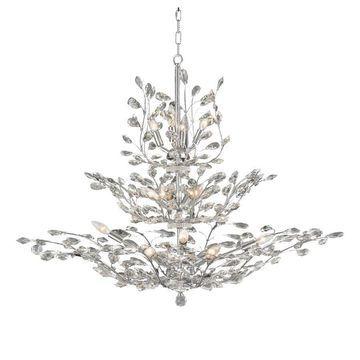 Worldwide Lighting Aspen 18-Light Polished Chrome Glam Crystal Candle Chandelier