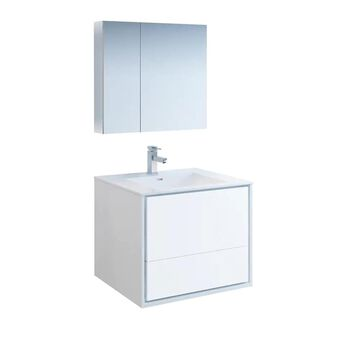 Fresca Senza 30-in Glossy White Single Sink Bathroom Vanity with White Acrylic Top (Faucet Included) | FVN9230WH