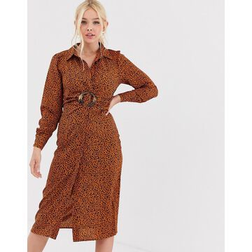 QED London shirt dress with buckle in abstract print