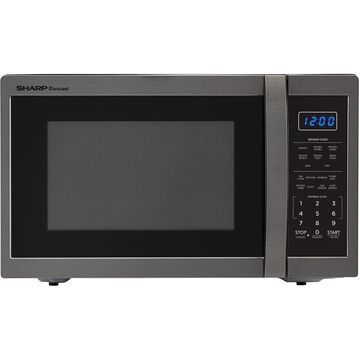 Sharp Carousel 1.4 Cu. Ft. 1100W Countertop Microwave Oven in Black Stainless Steel