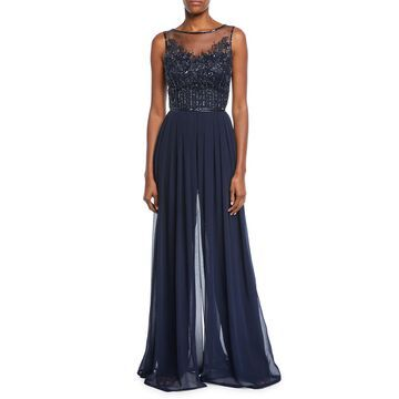 Bateau-Neck Sleeveless Wide-Leg Jumpsuit w/ Sheer Beaded Bodice