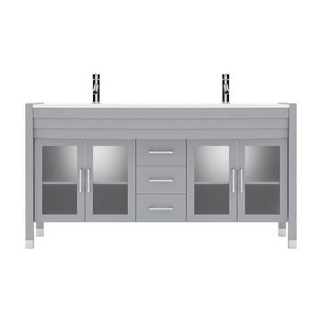 Virtu USA Ava 63-in Gray Undermount Double Sink Bathroom Vanity with White Engineered Stone Engineered Stone Top (Faucet Included)