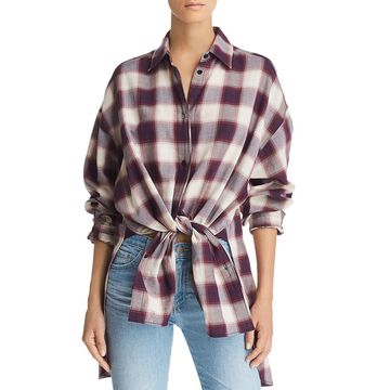 Elizabeth and James Womens Clive Oversized Plaid Button-Down Top