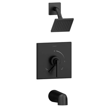 Symmons Duro Matte Black 1-Handle Bathtub and Shower Faucet (Valve Not Included) Stainless Steel | S3602MBSH41.5TRM