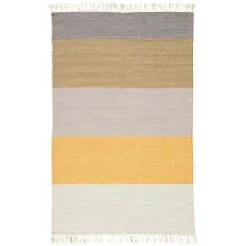 Tahoe Indoor/Outdoor Stripe Yellow/Tan Transitional Area Rug (5' x 8') - 5' x 8' (5' x 8' - Yellow/Tan)