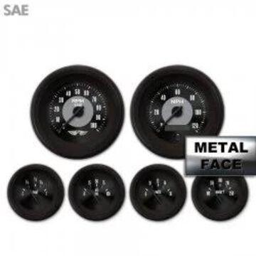 GAR111ZEARACCC 6 Gauge Set with emblem - SAE American Classic Black V, Black Modern Needles, Black Trim Rings ~ Style Kit Installed