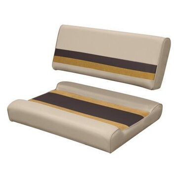 Wise 8WD125FF-1010 Deluxe Series Pontoon Flip Flop Bench Seat and Backrest Cushion Set, Sand/Chestnut/Gold