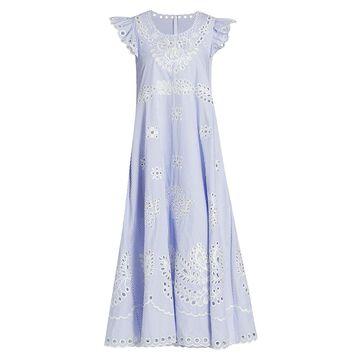 REDValentino Striped Sangallo Embroidery Maxi Dress