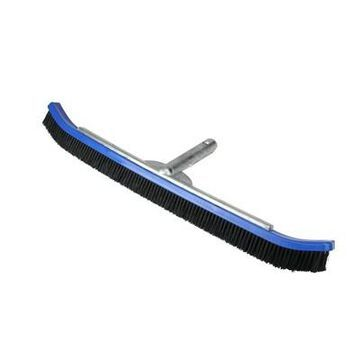 Pool Central Curved Nylon Bristle Pool Wall Brush with Aluminum Handle 24'' - Blue