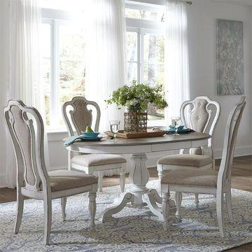 Liberty Antique White 5-piece Pedestal Table Set