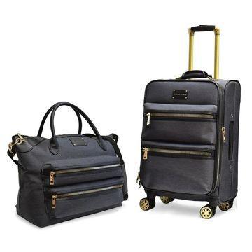 Adrienne Vittadini Two-Tone Nylon 2 Piece Luggage Set-Black - 2 piece set