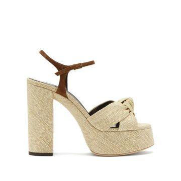 Saint Laurent - Bianca Knotted Raffia Platform Sandals - Womens - Cream
