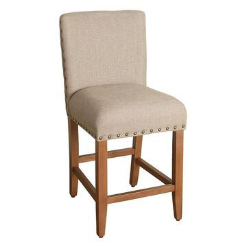 HomePop Upholstered Nailhead Counter Stool, Brown