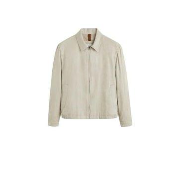 MANGO MAN - Zipper linen cotton jacket beige - XL - Men