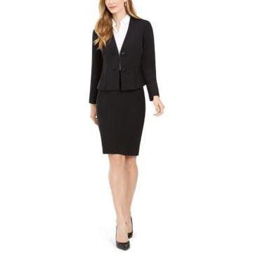 Le Suit Petite Jeweled-Button Skirt Suit