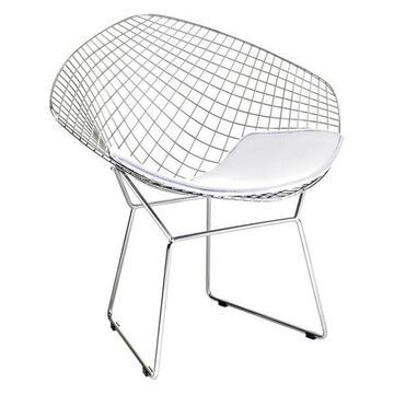 Fine Mod Imports Wire Diamond Chair, White