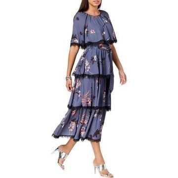 Avec Les Filles Womens Tiered Floral Georgette Caplet Maxi Dress