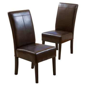 Set of 2 T-stitch Leather Dining Chairs - Christopher Knight Home